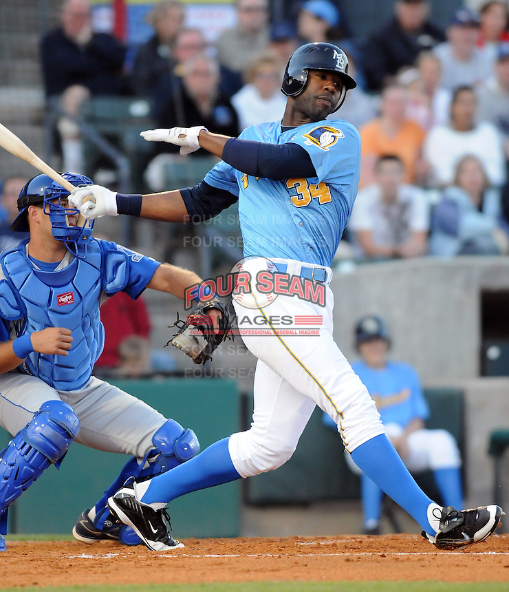 April 10, 2009: Outfielder Jason Heyward (34) of the Myrtle Beach Pelicans, Class A affiliate of the Atlanta Braves, in a game against the Wilmington Blue Rocks at BB&T Coastal Field in Myrtle Beach, S.C. Photo by:  Tom Priddy/Four Seam Images