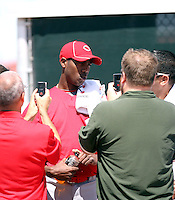 Aroldis Chapman, Cincinnati Reds, 2010 minor league spring training. Chapman, who signed with the Reds after leaving his native Cuba, pitches in a minor league spring training game against the Milwaukee Brewers AAA team at the Reds complex in Goodyear, AZ - 03/28/2010..Photo by:  Bill Mitchell/Four Seam Images.