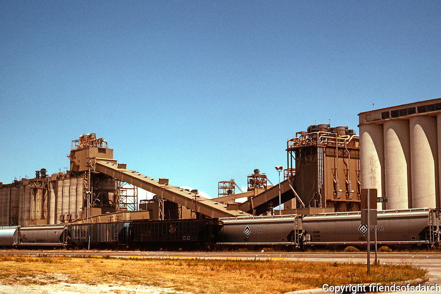Galveston:  Harbor Industrial Architecture. The Galveston Harbor on landward/north side of island.  Photo '96.