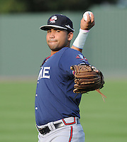 Infielder Fernando De Los Santos (1) of the Rome Braves, an Atlanta Braves affiliate, prior to a game against the Greenville Drive on August 13, 2012, at Fluor Field at the West End in Greenville, South Carolina. Rome won, 3-2. (Tom Priddy/Four Seam Images)