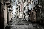 A retro view of urban Valletta in Malta.