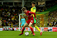 21st September 2021; Carrow Road, Norwich, England; EFL Cup Footballl Norwich City versus Liverpool; Conor Bradley of Liverpool is under pressure from Dimitris Giannoulis of Norwich City