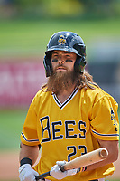 Brandon Marsh (23) of the Salt Lake Bees at bat against the Tacoma Rainiers at Smith's Ballpark on May 16, 2021 in Salt Lake City, Utah. The Bees defeated the Rainiers 8-7. (Stephen Smith/Four Seam Images)
