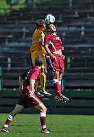 18 September 2011: Harvard University Crimson Forward Zack Wolfenzon, a Junior from San Diego, CA, goes up against University of Vermont Catamount Defenvder/Midfielder Seth Rebeor, a Junior from Fairfax, VT, at Centennial Field in Burlington, Vermont. The Catamounts shut out the visiting Crimson 1-0, earning their 3rd straight victory of the 2011 season. Mandatory Credit: Ed Wolfstein Photo