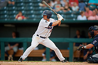 Jacksonville Jumbo Shrimp Corey Bird (32) at bat during a Southern League game against the Mobile BayBears on May 28, 2019 at Baseball Grounds of Jacksonville in Jacksonville, Florida.  Mobile defeated Jacksonville 2-1.  (Mike Janes/Four Seam Images)