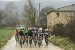 The peleton in action on the white dirt roads during the 2018 Strade Bianche Women Elite NamedSport race running 136km from Siena to Siena, Italy. 3rd March 2018.<br /> Picture: LaPresse/Fabio Ferrari | Cyclefile<br /> <br /> <br /> All photos usage must carry mandatory copyright credit (© Cyclefile | LaPresse/Fabio Ferrari)