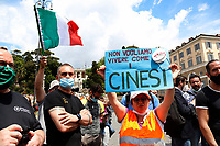 Banner ' we don't want to live like Chinese people<br /> Roma June 2nd 2020. Italy, Piazza del Popolo. Demonstration of the right movement 'Orange Vests' against the government in occasion of the anniversary of the Republic. The protesters wear orange gilet<br /> Photo Samantha Zucchi Insidefoto