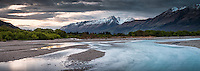 Dawn twilight at Rees River with Humboldt Mountains in background, Mt. Aspiring National Park, Central Otago, South Island, New Zealand