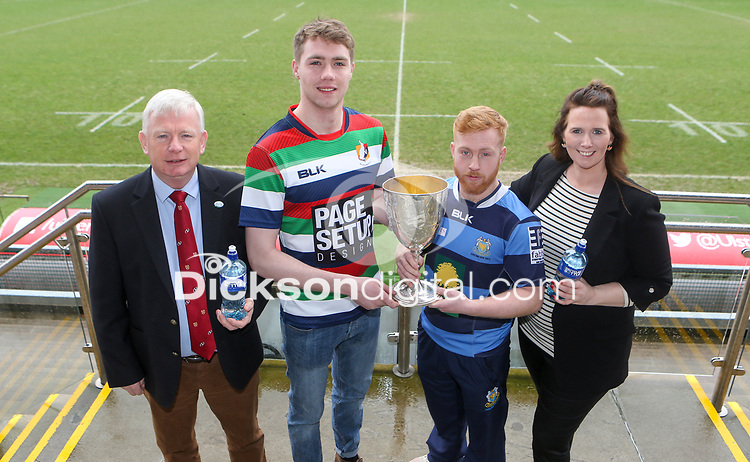Monday 24th February 2020 | Deep River Rock Ulster Towns Cup Semi-Final Draw<br /> <br /> Pictured at the Deep River Rock Ulster Towns Cup Semi-Final draw are Ulster Branch Senior Vice President Philip Gregg, Ballyclare RFC captain Josh Young, Dromore RFC captain Lee Steenson and Hillary Hughes representing the sponsors Deep River Rock at Kingspan Stadium today. Photo by John Dickson / DICKSONDIGITAL