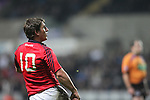 Ian Keatley watches his conversion attempt..RaboDirect Pro12.Ospreys v Munster.Liberty Stadium.03.12.11.©Steve Pope