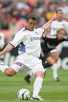 3 April 2004: San Jose Earthquakes' Ronnie Ekelund scores on a penalty kick against D.C. United at RFK Stadium in Washington D.C. Credit: Howard Smith