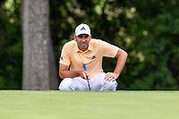 30th May 2021; Fort Worth, Texas, USA;  Sergio Garcia lines up his putt on #8 during the final round of the Charles Schwab Challenge on May 30, 2021 at Colonial Country Club in Fort Worth, TX.