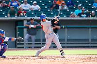 Rocket City Trash Pandas first baseman David MacKinnon (27) at bat against the Tennessee Smokies at Smokies Stadium on July 2, 2021, in Kodak, Tennessee. (Danny Parker/Four Seam Images)