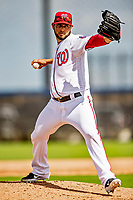 22 February 2019: Washington Nationals pitcher Anibal Sanchez on the mound during a Spring Training workout at the Ballpark of the Palm Beaches in West Palm Beach, Florida. Mandatory Credit: Ed Wolfstein Photo *** RAW (NEF) Image File Available ***