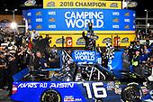 #16: Brett Moffitt, Hattori Racing Enterprises, Toyota Tundra AISIN Group celebrates in victory lane