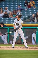 Ryan Schimpf (17) of the Salt Lake Bees bats against the Sacramento River Cats at Smith's Ballpark on April 19, 2018 in Salt Lake City, Utah. Salt Lake defeated Sacramento 10-7. (Stephen Smith/Four Seam Images)