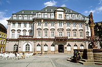 Heidelberg: Rathaus (Town Hall). Baroque style. Plaza with monument in center. Photo '87.