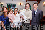 Baby Gearoid Cathal Kelly with his parents Ilona O'Dowd & Gerard Kelly, Listowwl, sister Eily Jo and god parents Amanda O'Dowd & James O'Connor who was christened in Ballydonoghue Church by Fr. Lawlor on Sunday last and afterwards at The Thatch Bar, Liselton.