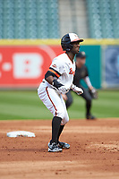 Darien Simms (4) of the Sam Houston State Bearkats takes his lead off of second base against the Vanderbilt Commodores in game one of the 2018 Shriners Hospitals for Children College Classic at Minute Maid Park on March 2, 2018 in Houston, Texas. The Bearkats walked-off the Commodores 7-6 in 10 innings.   (Brian Westerholt/Four Seam Images)