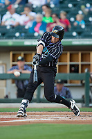 Nicky Delmonico (13) of the Charlotte Knights at bat against the Norfolk Tides at BB&T BallPark on May 2, 2017 in Charlotte, North Carolina.  The Knights defeated the Tides 8-3.  (Brian Westerholt/Four Seam Images)