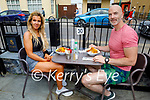 Enjoying the outdoor dining at the Coast Cafe in Ballybunion on Sunday, l to r: Theresa McGrath and Colm Jordon.