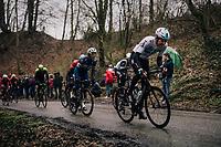 Luke Rowe (GBR/SKY) up the Trieu<br /> <br /> 73rd Dwars Door Vlaanderen 2018 (1.UWT)<br /> Roeselare - Waregem (BEL): 180km