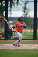 GCL Astros Jose Mendoza (13) bats during a Gulf Coast League game against the GCL Nationals on August 9, 2019 at FITTEAM Ballpark of the Palm Beaches training complex in Palm Beach, Florida.  GCL Nationals defeated the GCL Astros 8-2.  (Mike Janes/Four Seam Images)