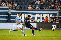 Kansas City, KS - Wednesday August 9, 2017: Darwin Ceren, Roger Espinoza during a Lamar Hunt U.S. Open Cup Semifinal match between Sporting Kansas City and the San Jose Earthquakes at Children's Mercy Park.
