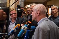 """Treffen des Zentralrat der Muslime mit AfD-Parteispitze am 23. Mai 2016 im Regent-Hotel in Berlin.<br /> Der Zentralrat der Muslime (ZDM) hatte fuehrende AfD-Politiker zu einem Gespraech eingeladen, um ueber diskriminierende und islamfeindliche Ausserungen und Passagen im AfD-Parteiprogramm zu reden. Die AfD-Politiker liessen das Gespraech nach kurzer Zeit platzen und beschuldigten den ZDM """"nicht auf Augenhoehe"""" mit der AfD reden und sie """"erpressen"""" zu wollen.<br /> Im Bild: Albrecht Glaser, AfD-Kandidat zur Wahl des Bundespraesidenten. Der stellvertretende AfD-Sprecher Glaser ist ehemaliges CDU-Mitglied und war als Stadtkaemmerer in Frankfurt verwickelt in umstrittene Fondgeschaefte.<br /> 23.5.2016, Berlin<br /> Copyright: Christian-Ditsch.de<br /> [Inhaltsveraendernde Manipulation des Fotos nur nach ausdruecklicher Genehmigung des Fotografen. Vereinbarungen ueber Abtretung von Persoenlichkeitsrechten/Model Release der abgebildeten Person/Personen liegen nicht vor. NO MODEL RELEASE! Nur fuer Redaktionelle Zwecke. Don't publish without copyright Christian-Ditsch.de, Veroeffentlichung nur mit Fotografennennung, sowie gegen Honorar, MwSt. und Beleg. Konto: I N G - D i B a, IBAN DE58500105175400192269, BIC INGDDEFFXXX, Kontakt: post@christian-ditsch.de<br /> Bei der Bearbeitung der Dateiinformationen darf die Urheberkennzeichnung in den EXIF- und  IPTC-Daten nicht entfernt werden, diese sind in digitalen Medien nach §95c UrhG rechtlich geschuetzt. Der Urhebervermerk wird gemaess §13 UrhG verlangt.]"""