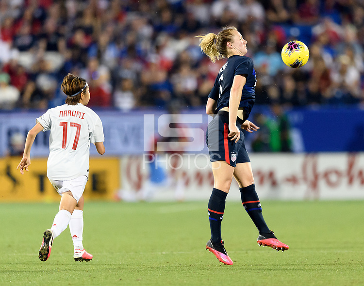 FRISCO, TX - MARCH 11: Samantha Mewis #3 of the United States gathers in a loose ball against Japan during a game between Japan and USWNT at Toyota Stadium on March 11, 2020 in Frisco, Texas.