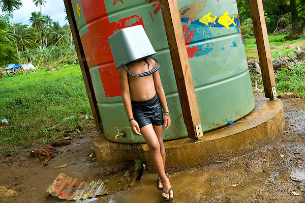 A Red Cross water tank in Satitoa District, Samoa, which was one of the areas worst hit by the 2009 tsunami.<br /> <br /> This tank and others like it provide thousands of litres of clean water for use during emergencies.