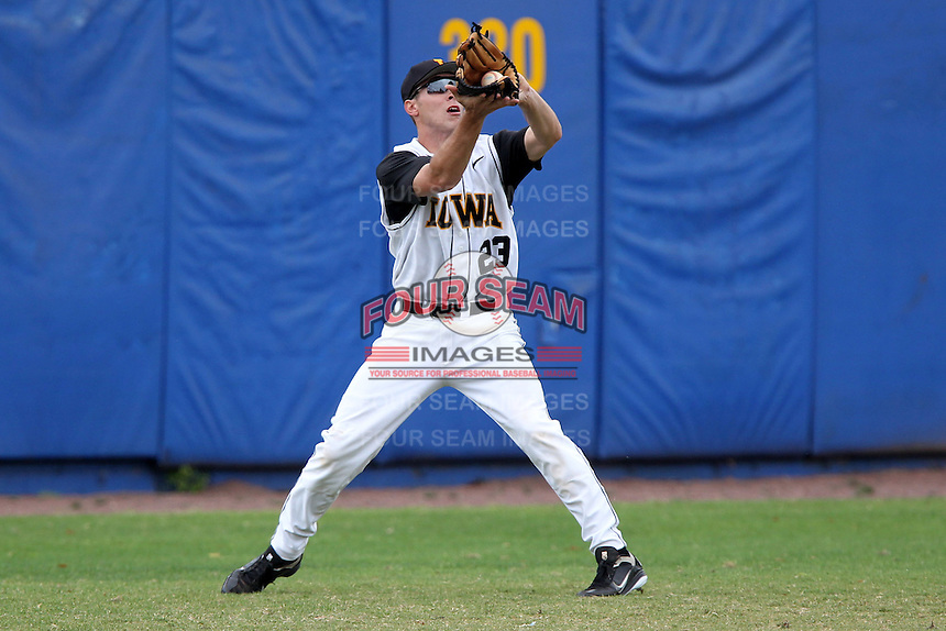 Iowa Hawkeyes outfielder Dan Sheppard #23 catches a fly ball during a game against the Illinois State Redbirds at Chain of Lakes Stadium on March 11, 2012 in Winter Haven, Florida.  Illinois State defeated Iowa 10-6.  (Mike Janes/Four Seam Images)