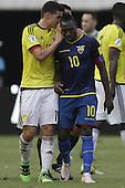 James Rodriguez habla y Walter Ayovi en partido de eliminatorias para el Mundial de Fútbol 2018 entre Colombia y Ecuador en el Estadio Metropolitano Roberto Melendez de Barranquilla el 29 de marzo de 2016.<br /> <br /> Foto: Archivolatino<br /> <br /> COPYRIGHT: Archivolatino<br /> Prohibido su uso sin autorización.