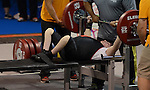 Toronto, ON - Aug 9 2015 - Dylan Sparks competes in men's up to 59kg powerlifting at the Mississauga Sports Centre during the Parapan Am Games. (Photo: Kalie Sinclair / Canadian Paralympic Committee)