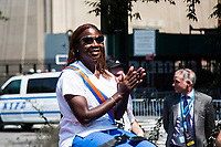 NEW YORK, NEW YORK - JULY 7: Sandra Lindsay, a Queens nurse who was the first American to receive the Pfizer vaccine in December, was the grand marshal of guiding hundreds of police, firefighters, hospitals and other workers in First responders participate in a parade of ticker tapes to honor workers who helped New York during the Covid-19 pandemic on July 7, 2021 in New York City. Healthcare workers, first responders and essential workers are honored at the Canyon of Heroes in Manhattan for their service during the COVID-19 pandemic. (Photo by Pablo Monsalve / VIEWpress via Getty Images)
