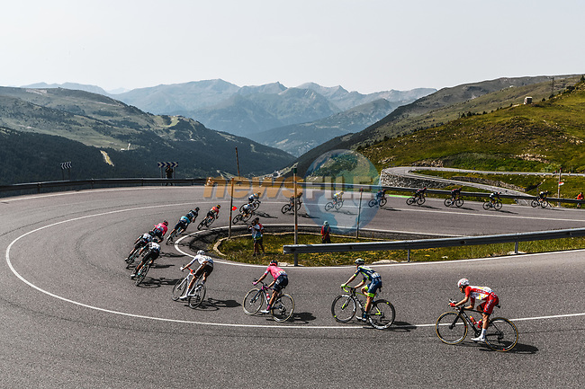 The breakaway descend during Stage 15 of the 2021 Tour de France, running 191.3km from Ceret to Andorre-La-Vieille, France. 11th July 2021.  <br /> Picture: A.S.O./Charly Lopez | Cyclefile<br /> <br /> All photos usage must carry mandatory copyright credit (© Cyclefile | A.S.O./Charly Lopez)