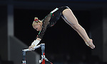 Wales' Raer Theaker competes in the uneven bars<br /> <br /> Gymnastics artistic - Team final & Individual Qualification <br /> <br /> Photographer Chris Vaughan/Sportingwales<br /> <br /> 20th Commonwealth Games - Day 5 - Monday 28th July 2014 - Gymnastics artistic - The SSE Hydro - Glasgow - UK