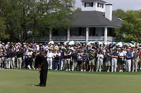8th April 2001; Augusta, GA, USA;  Tiger Woods Putting in front of Clubhouse Augusta Georgia U S A