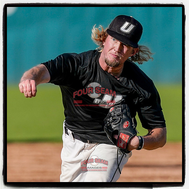 Ethan McCarty (38) of the University of South Carolina Upstate Spartans Black team delivers a pitch in the Green and Black Fall World Series Game 3 on Sunday, November 1, 2020, at Cleveland S. Harley Park in Spartanburg, South Carolina. Green won, 3-2. (Tom Priddy/Four Seam Images)