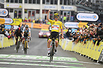 Yellow Jersey Tadej Pogacar (SLO) UAE Team Emirates wins  Stage 18 of the 2021 Tour de France, running 129.7km from Pau to Luz Ardiden, France. 15th July 2021.  <br /> Picture: A.S.O./Charly Lopez   Cyclefile<br /> <br /> All photos usage must carry mandatory copyright credit (© Cyclefile   A.S.O./Charly Lopez)