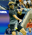 September  10, 2021:   Alexander Zverev (GER) loses to Novak Djokovic (SRB), in five sets at the US Open being played at Billy Jean King National Tennis Center in Flushing, Queens, New York, {USA} ©Jo Becktold/Tennisclix/CSM