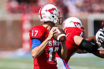 Southern Methodist Mustangs quarterback Kolney Cassel (17) in action during the game between the Texas A&M Aggies and the SMU Mustangs at the Gerald J. Ford Stadium in Fort Worth, Texas. A&M leads SMU 38 to 3 at halftime.