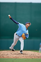 Tampa Bay Rays pitcher Wilson Garcia (93) delivers a pitch during an Instructional League game against the Baltimore Orioles on October 5, 2017 at Ed Smith Stadium in Sarasota, Florida.  (Mike Janes/Four Seam Images)