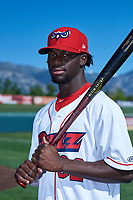 Orem Owlz outfielder D'Shawn Knowles (32) poses for a photo before a Pioneer League game against the Idaho Falls Chukars at The Home of the OWLZ on August 13, 2019 in Orem, Utah. Orem defeated Idaho Falls 3-1. (Zachary Lucy/Four Seam Images)