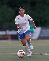Boston Breakers defender Bianca D'Agostino (19) brings the ball forward. In a Women's Premier Soccer League Elite (WPSL) match, the Boston Breakers defeated New York Fury, 2-0, at Dilboy Stadium on June 23, 2012.