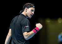 15th November 2020, O2, London, England;  Dominic Thiem of Austria celebrates after winning a point during the singles group match against StefanTsitsipas of Greece at the ATP, Tennis Mens World Tour Finals 2020 in London