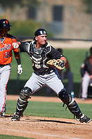 Chicago White Sox catcher Nathaniel Nolan (28) during an Instructional League game against the San Francisco Giants on October 10, 2016 at the Camelback Ranch Complex in Glendale, Arizona.  (Mike Janes/Four Seam Images)