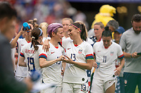 LYON, FRANCE - JULY 07: Megan Rapinoe and Alex Morgan during a game between Netherlands and USWNT at Stade de Lyon on July 07, 2019 in Lyon, France.