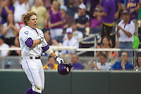 LSU Tigers first baseman Mason Katz #8 celebrates his home run during Game 4 of the 2013 Men's College World Series between the LSU Tigers and UCLA Bruins at TD Ameritrade Park on June 16, 2013 in Omaha, Nebraska. The Bruins defeated the Tigers 2-1. (Brace Hemmelgarn/Four Seam Images)