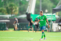 LAKE BUENA VISTA, FL - JULY 14: Jordan Morris #13 of the Seattle Sounders waiting on the ball during a game between Seattle Sounders FC and Chicago Fire at Wide World of Sports on July 14, 2020 in Lake Buena Vista, Florida.